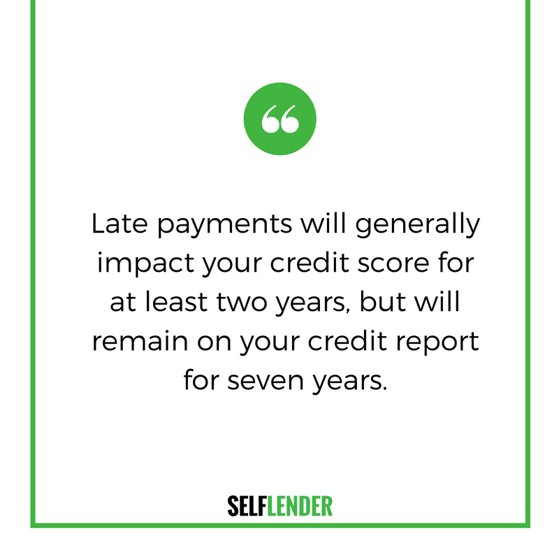 Late payments will generally impact your score for at least two years, but will remain on your report for seven years