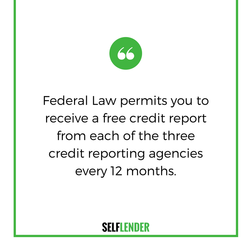 Federal Law permits you to receive a free credit report from each of the three reporting agencies every 12 months