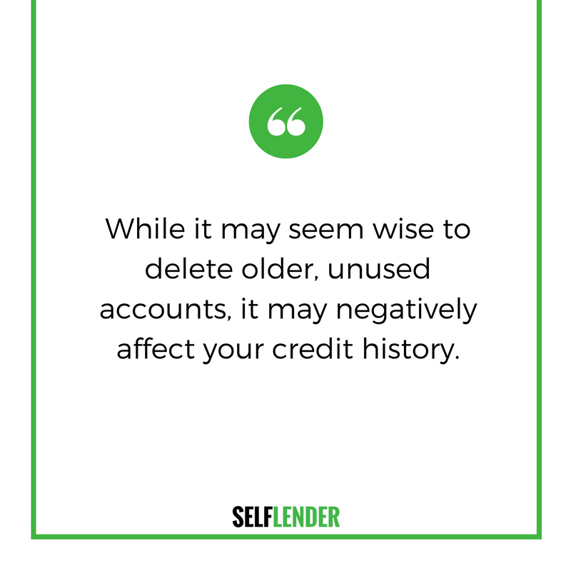 Deleting old accounts may negatively affect your credit history